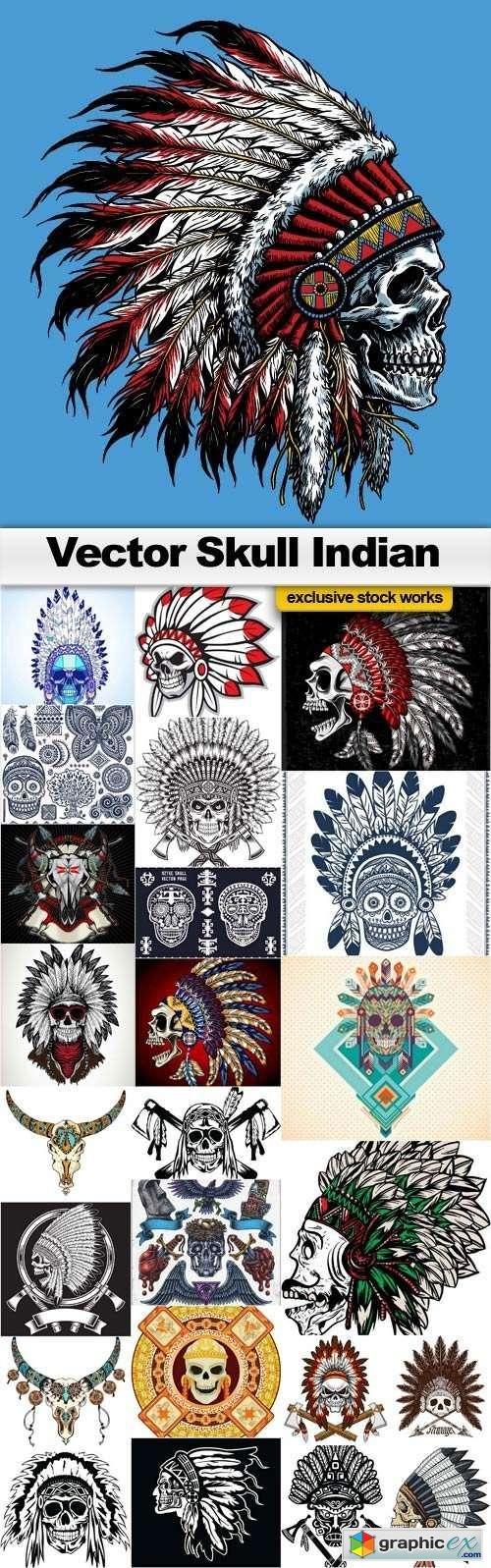 T shirt design 7 25xeps - Vector Skull Indian 25x Eps