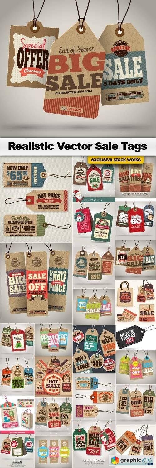 Realistic Vector Sale Tags - 25x EPS