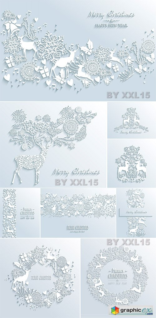 3D paper Christmas vector greeting cards