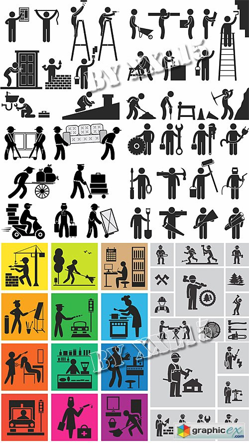 Icons of worker people