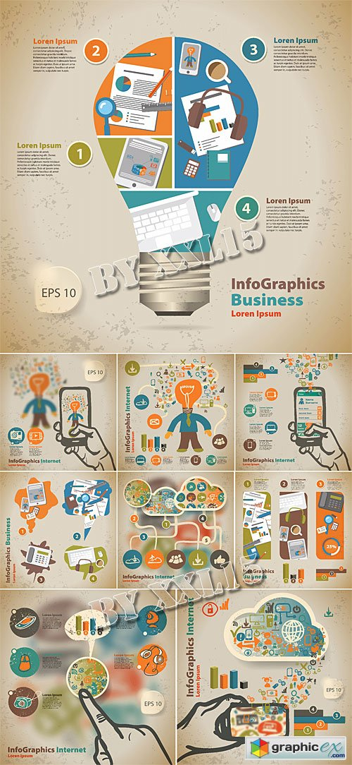 Infographic templates in retro style