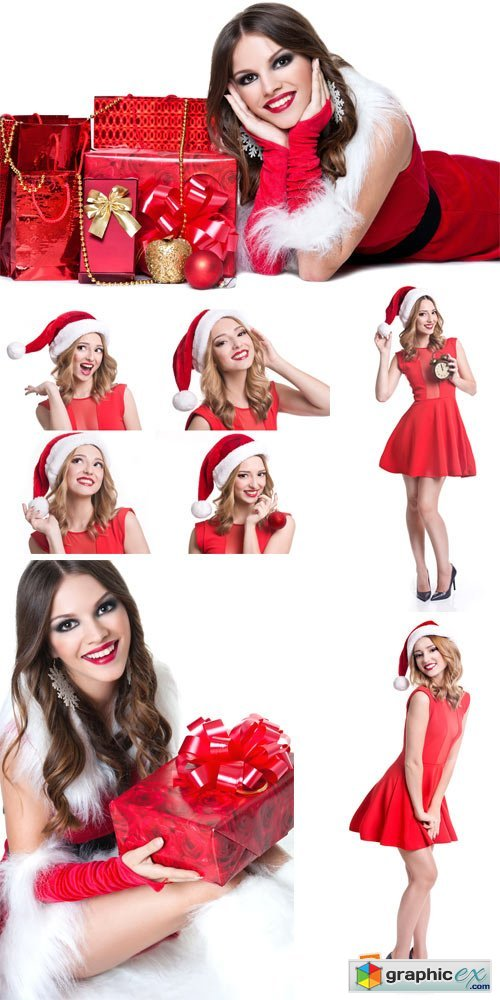 Christmas girl, Christmas costumes - stock photos