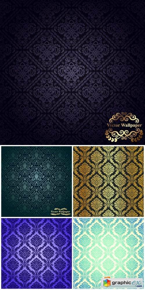 Vintage texture with different patterns - vector
