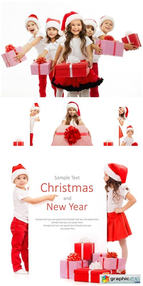 Christmas and New Year, children - stock photos
