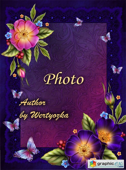 Frame for photo with flowers and butterflies wild rose