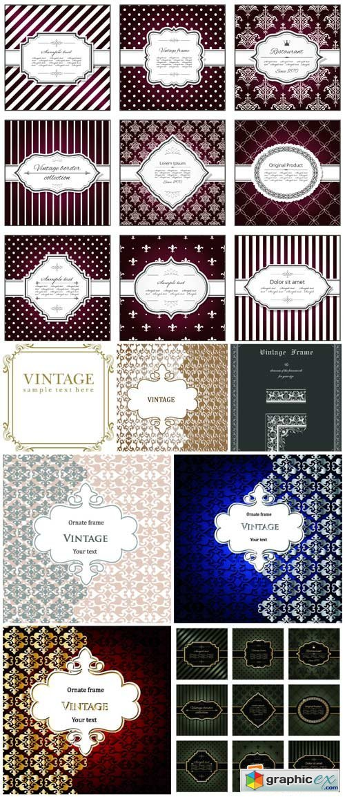 Vintage texture, vector backgrounds with patterns #21