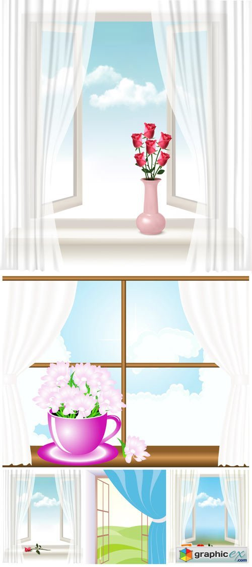 Window in the vector, flowers on the windowsill