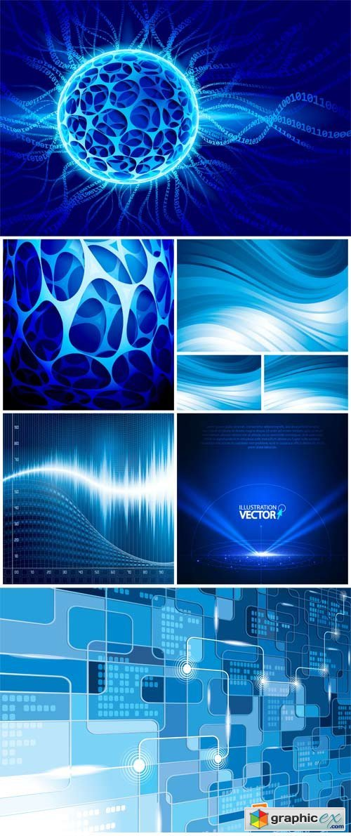 Blue vector background with abstraction, shining line