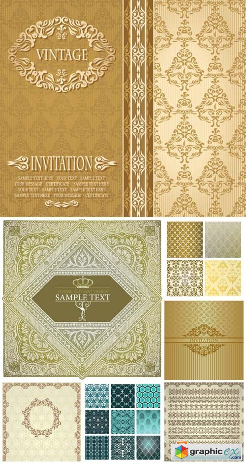 Vintage backgrounds in vector, ornaments and patterns