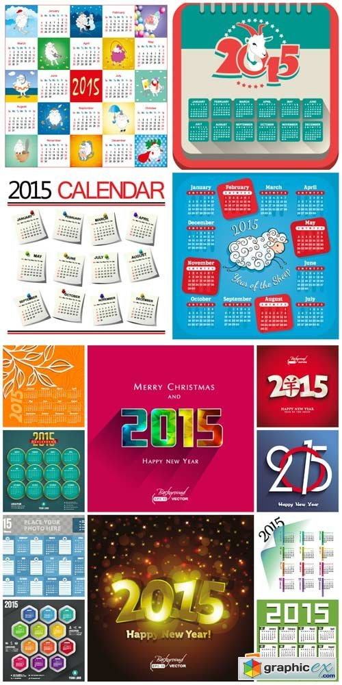 Calendars for 2015, calendar grid vector