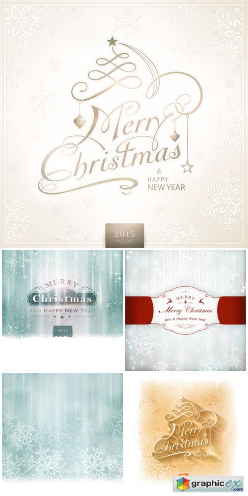 Christmas vector background with snowflakes gentle and inscriptions