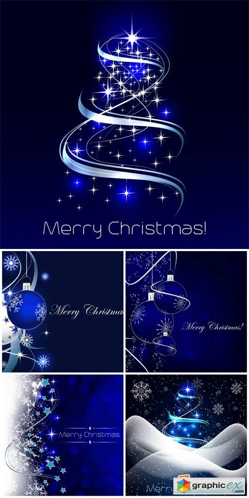 Blue Christmas background, Christmas tree and balls vector