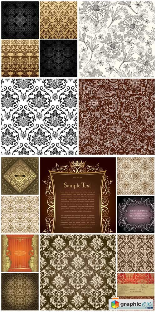 Vector backgrounds with vintage pattern # 11
