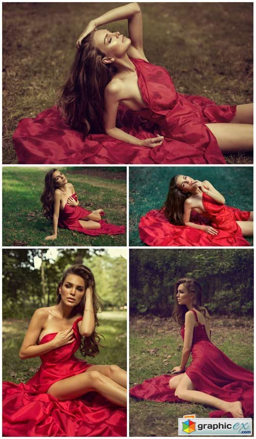 Charming girl in a crimson dress - Stock Photo