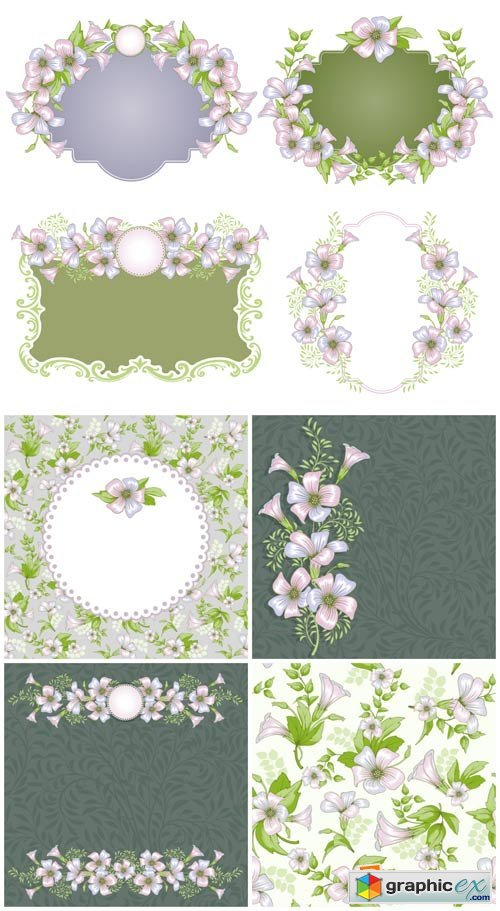 Gentle vector backgrounds with flowers, floral frame