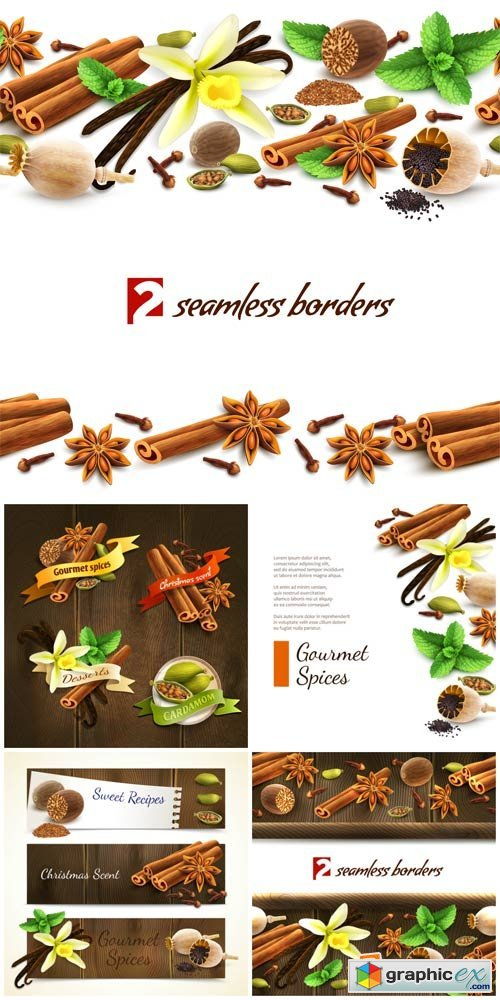 Spices, vector backgrounds, cinnamon, poppy seeds, vanilla