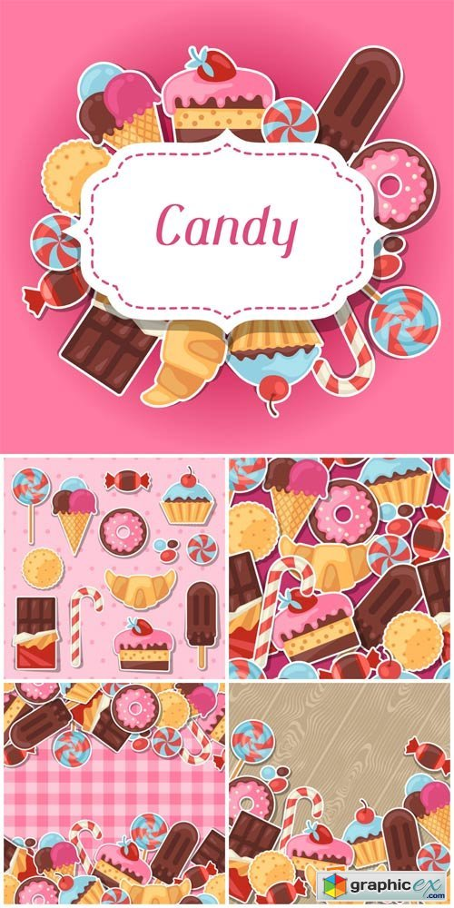 Sweets, vector backgrounds with chocolates
