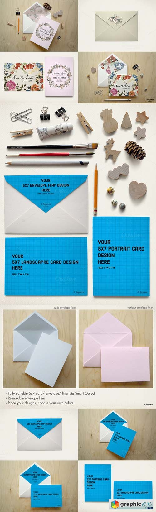5x7 Card/Envelope/Objects Mock Up
