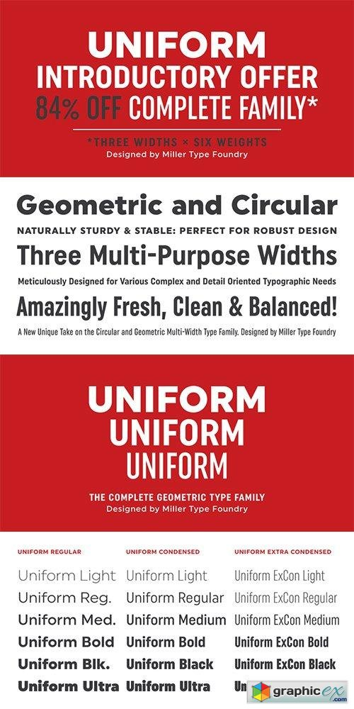 Uniform Font Family - 18 Fonts 468$