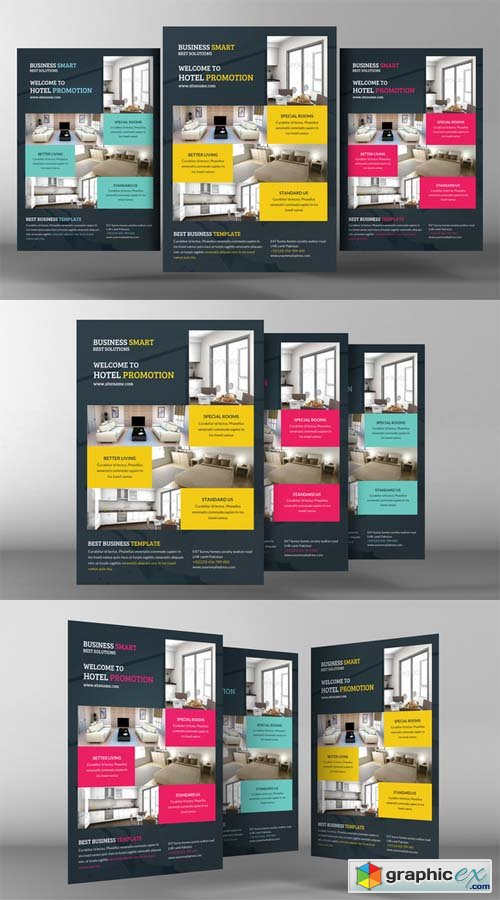 Hotel Promotion Flyer Template Free Download Vector Stock Image
