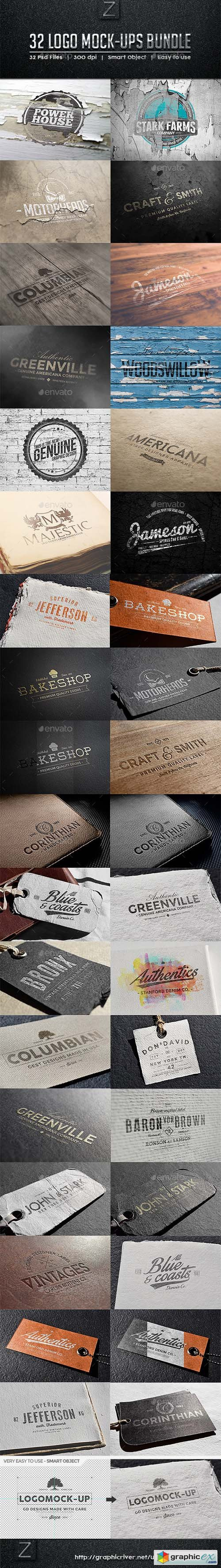 32 Logo Mock-ups Bundle