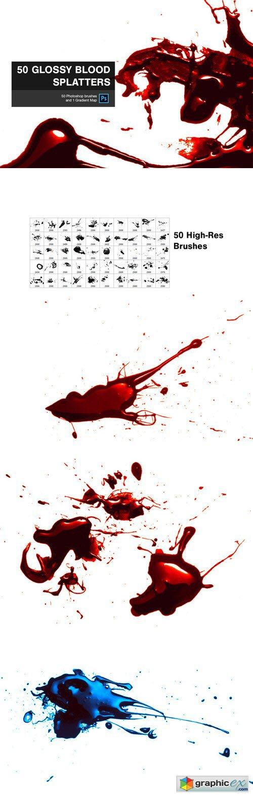 50 Glossy Blood Splatters