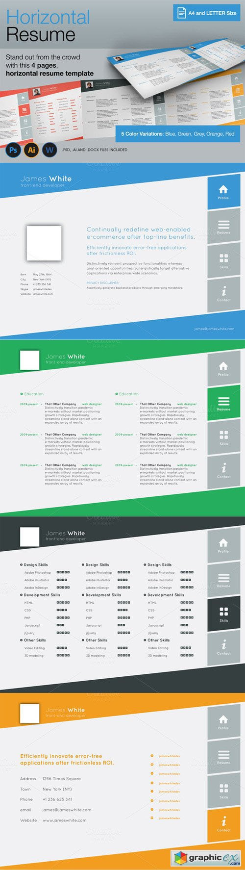 horizontal 4 pages resume 187 free vector stock