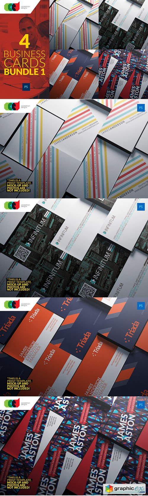 4 Business Cards Bundle 1