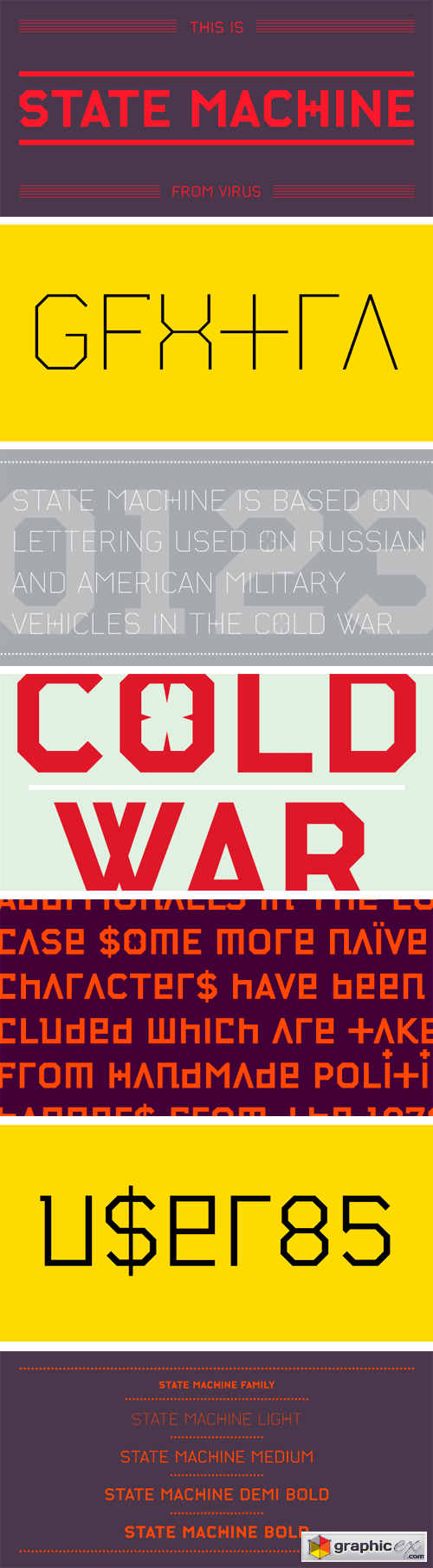 State Machine Font Family - 4 Fonts $60