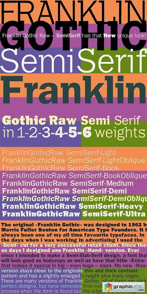 Franklin Gothic Raw Semi Serif Font Family - 8 Fonts $156