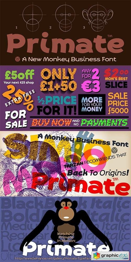 Primate Font Family - 12 Fonts $240