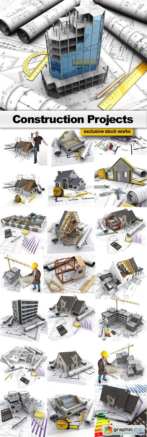 Construction projects and technical drawings - 17xEPS, 8xUHQ JPEGs