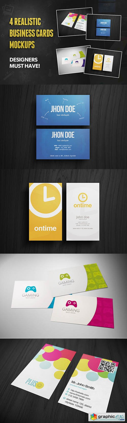 4 Realistic Business Card Mockups