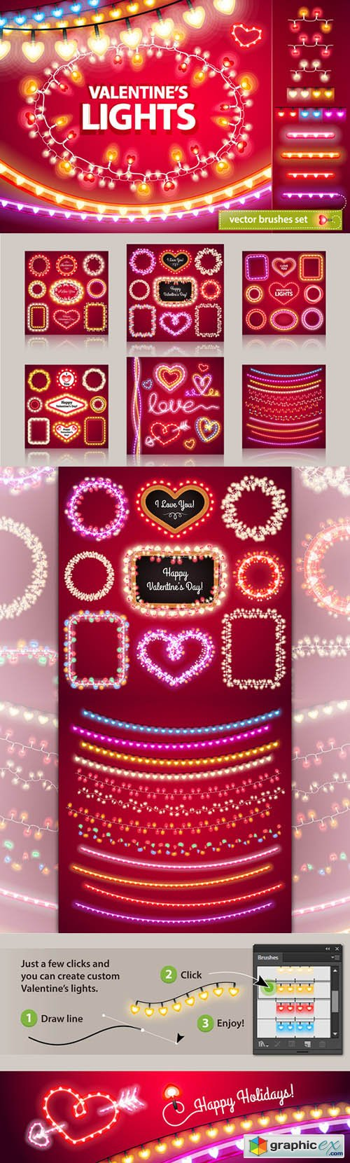 Valentine's Lights Decorations Set