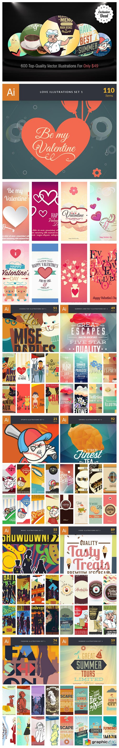 600 Top-Quality Vector Illustrations Bundle