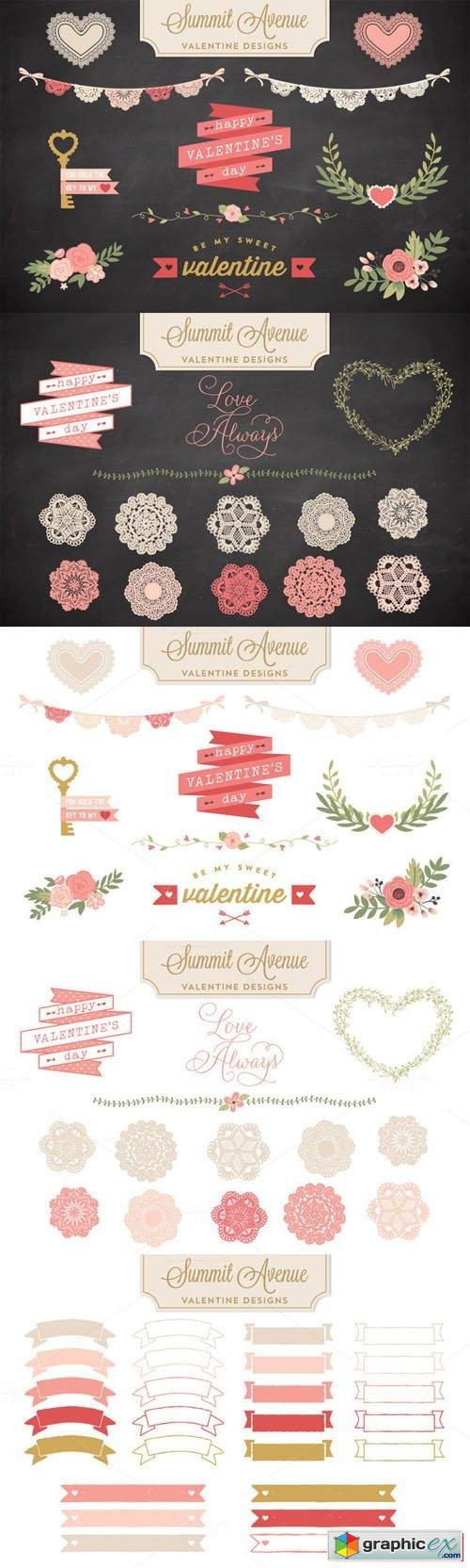 Valentine Bunting & Floral Bundle - Vector and PNG