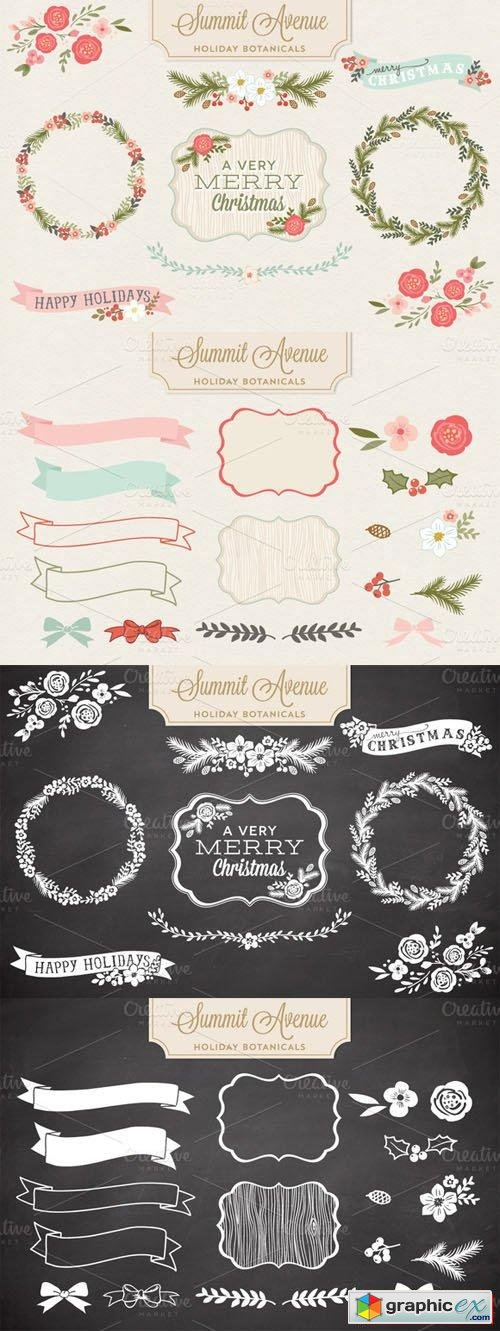 Holiday Botanical Vectors and PNG Designs