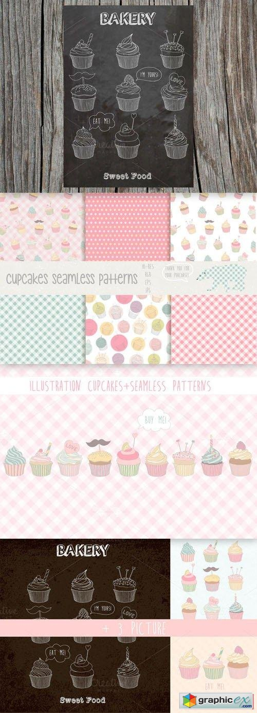 Cupcakes patterns and illustration