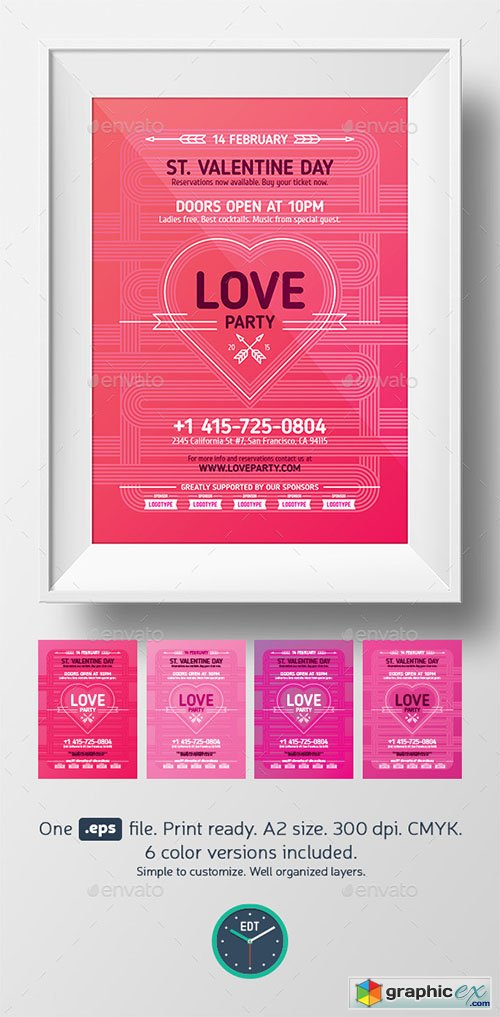 Valentines Day Love Party Poster Template