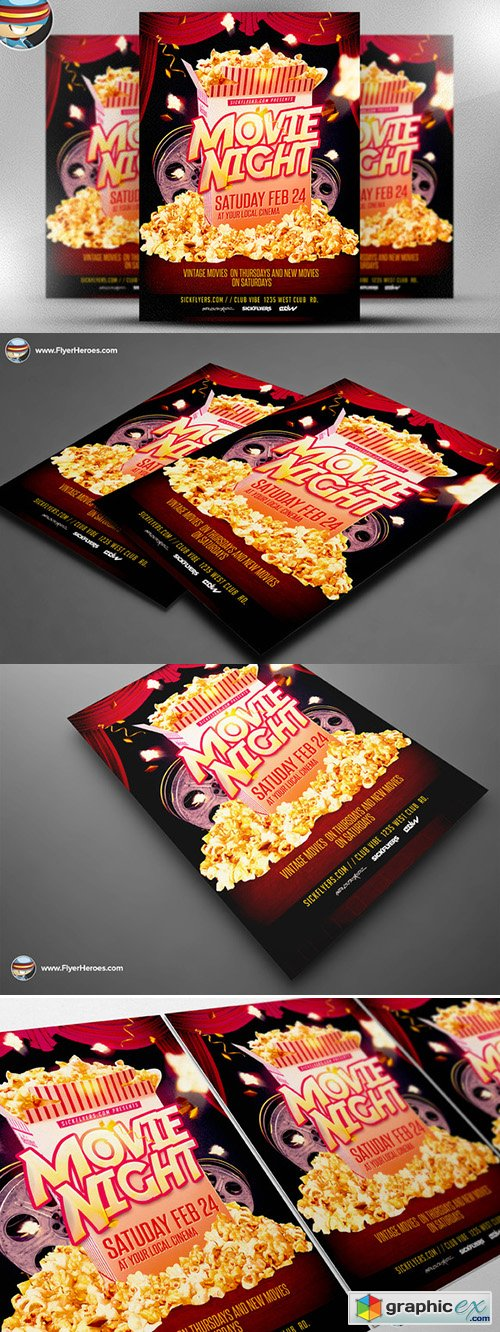Movie Night Flyer Template Free Download Vector Image – Movie Night Flyer Template