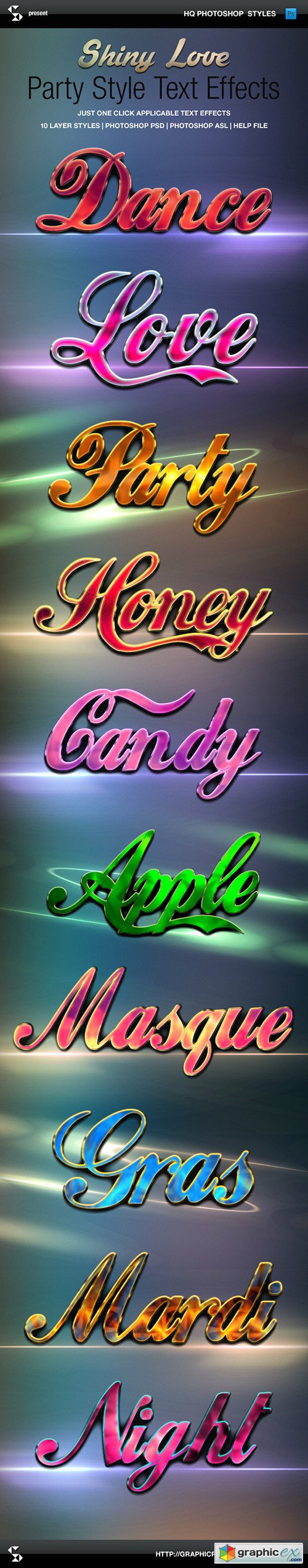 Graphicriver - Shiny Love Party Style Text Effects 10027902