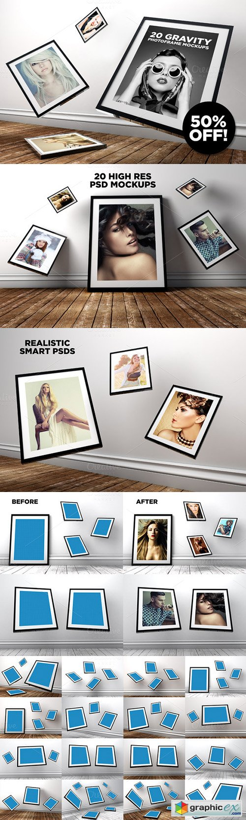 20 Gravity Photo Frame Mockups
