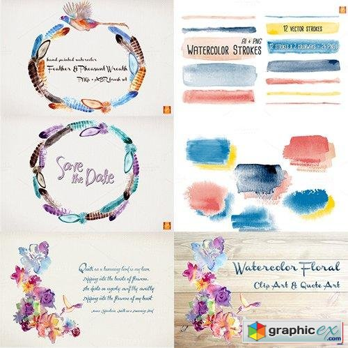 Special Edition- I LOVE Watercolor Clip Art MEGA Pack