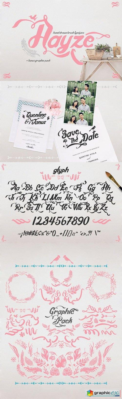 Hayze - Hand Drawn Bush Typeface Font