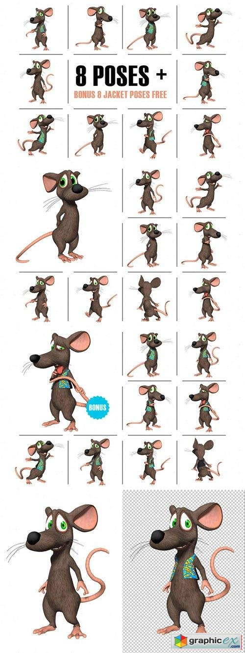 3D Character Toon Mouse Render