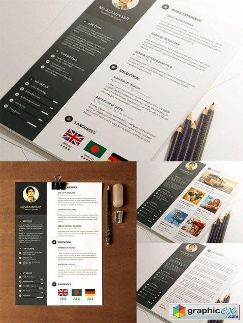 Clean Style Resume PSD Template