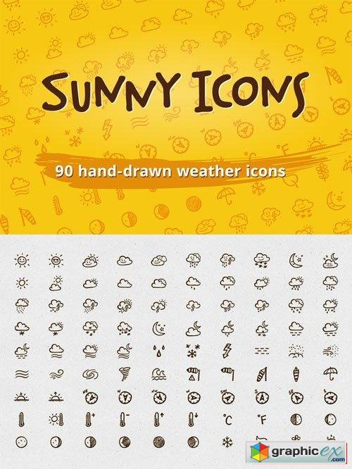 Sunny Icons: 90 weather icons