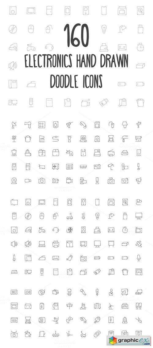 160 Electronics Hand Drawn Icons