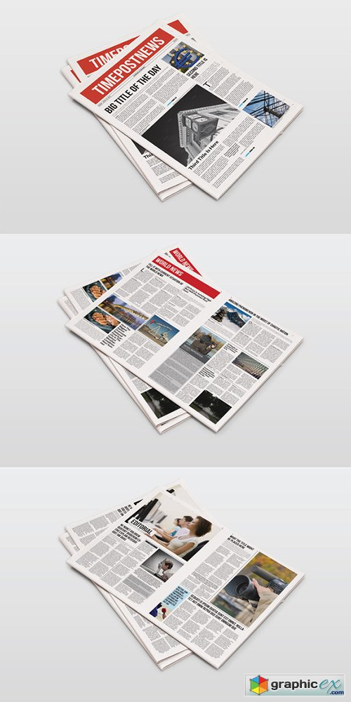 12 Pages Newspaper Template Free Download Vector Stock Image