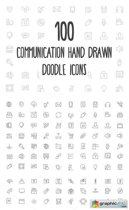 100 Communication Hand Drawn Icons